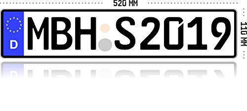 MBH-Shop KFZ Kennzeichen Autokennzeichen Wunschkennzeichen Nummernschild PKW Kennzeichen Fahrradträger Anhänger reflektierend individualisierbar