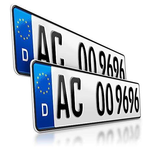 schildEVO 2 Kfz Kennzeichen | 520 x 110 mm | DIN-Zertifiziert – EU Wunschkennzeichen mit individueller Prägung | PKW Nummernschilder | Standard Autokennzeichen | Auto-Schilder | DHL-Versand